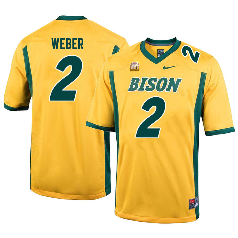 Men #2 Dawson Weber North Dakota State Bison College Football Jerseys Sale-Yellow